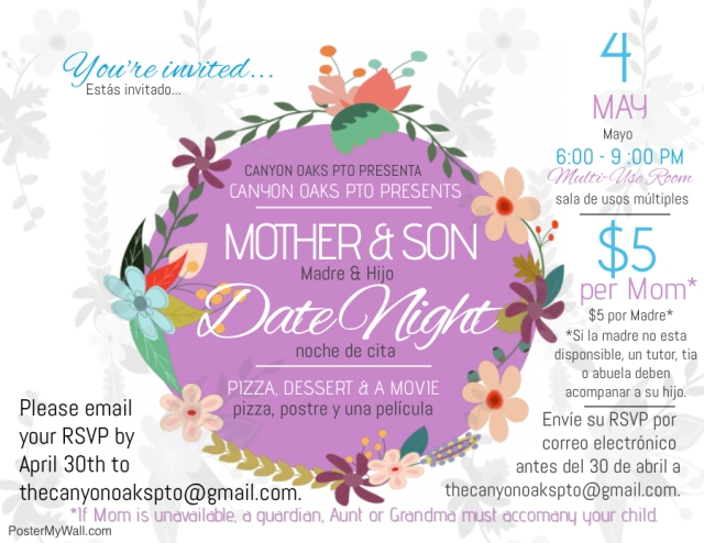 Mother & Son Date Nite 2018 Flyer (REVISED)