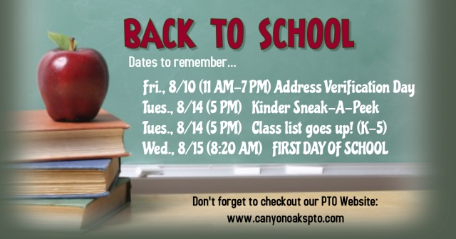 Back to School Sched 2018-19